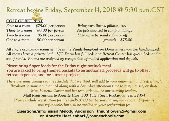 2018 Fall Ladies Retreat - info