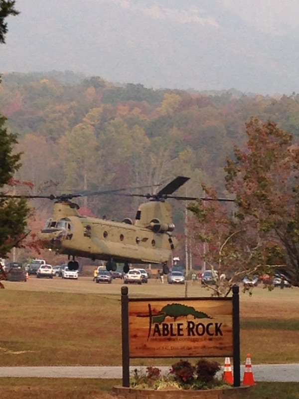 Chinook landing in front of the worship center